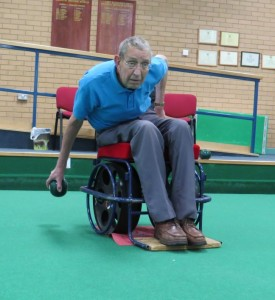 Specially designed wheelchairs are used on the bowls carpet