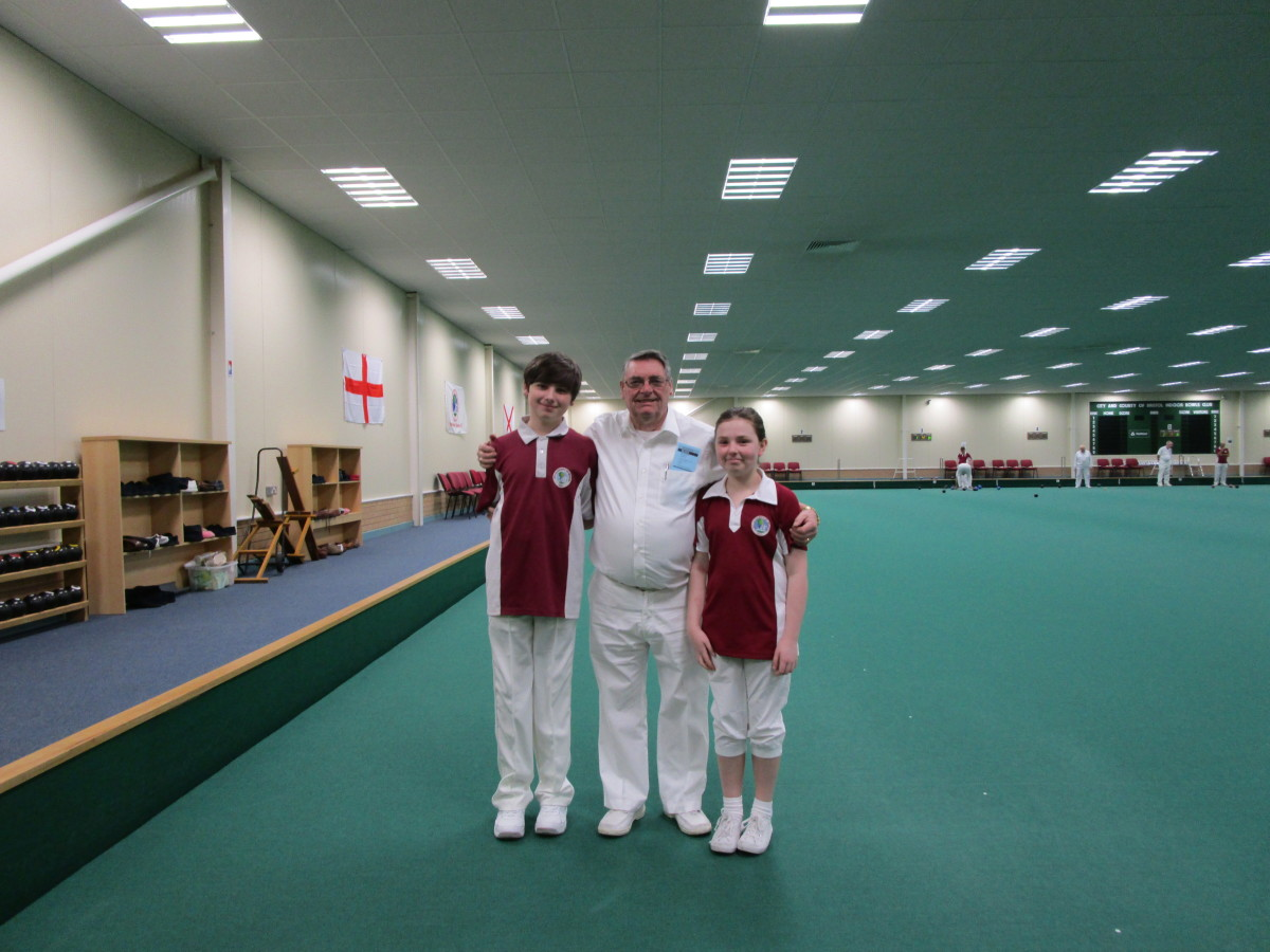 U12 Club Competition Competitors Luke and Rebecca with John their marker.
